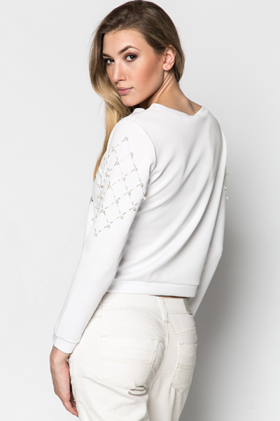 Pearl Embellished Sleeve Sweater