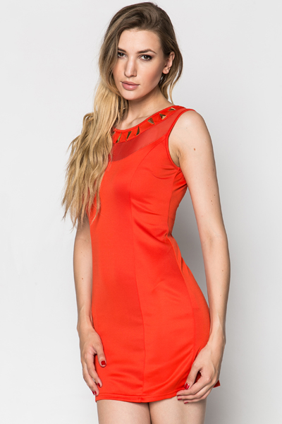 Mesh Embellished Neckline Dress