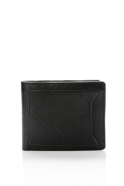 Classic Faux Leather Embossed Black Wallet
