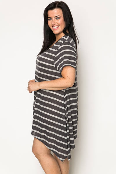 Perforated Stripe Tunic Dress