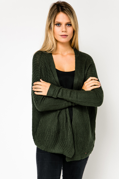 Contrast Sleeve Open Front Cardigan