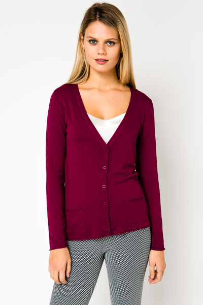 V-Neck Fine Knit Maroon Cardigan - Just £5