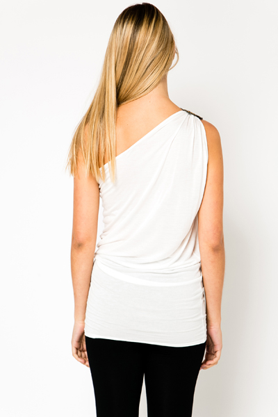 Embellished One Shoulder Tunic