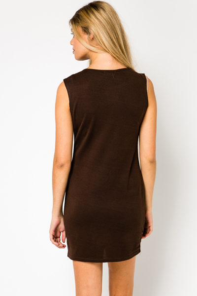 Pleat Front Fleece Dress