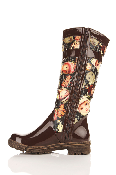 Contrast Print Padded Boots