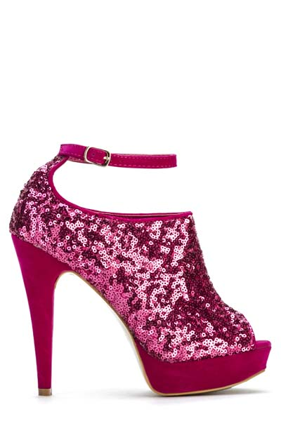 Sequin Ankle Strap Heels