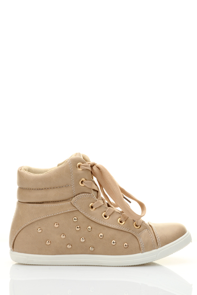 Faux Leather Hi-Top Trainers