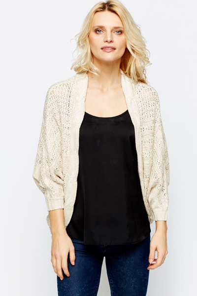 Cable Trim Batwing Cardigan