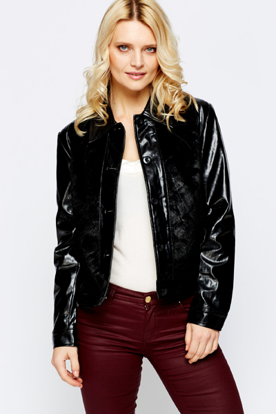 Mixed Faux Fur Panel Jacket