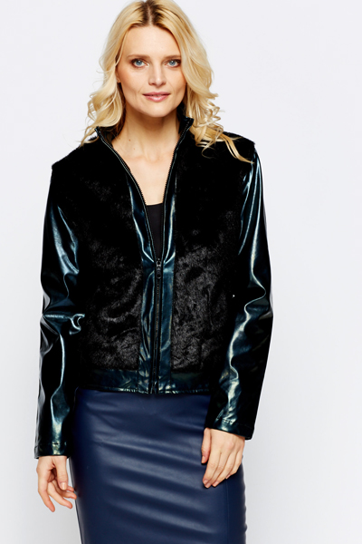 Faux Fur Panel Zip Front Pocket Jacket