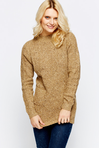 Speckled Cable Knit Pocket Front Pullover
