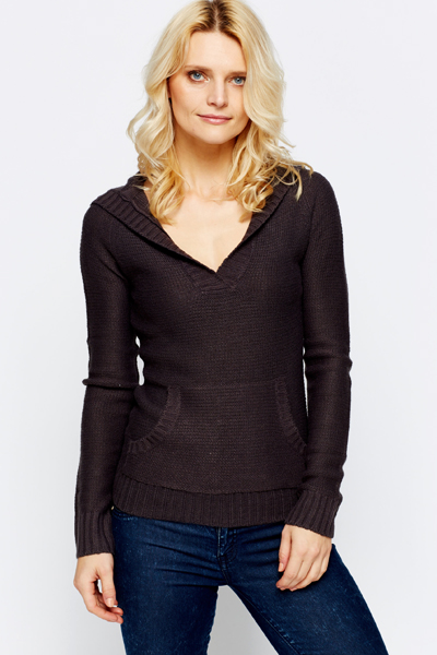 V-Neck Hooded Pullover