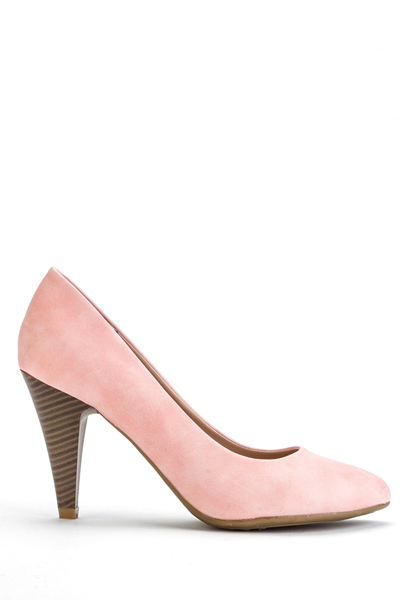 Faux Leather Pink Court Shoes