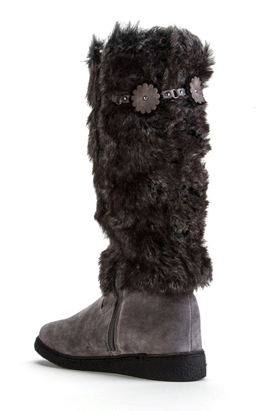 Flower Embellished Trim Faux Fur Boots
