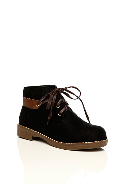 Faux Leather Panel Suedette Boots