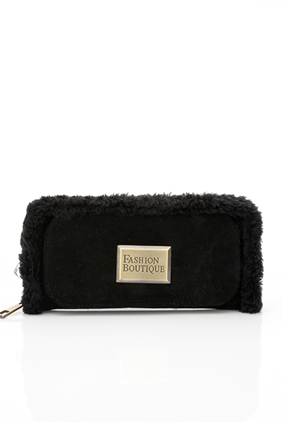 Enclosed Make Up Mirror Furry Purse