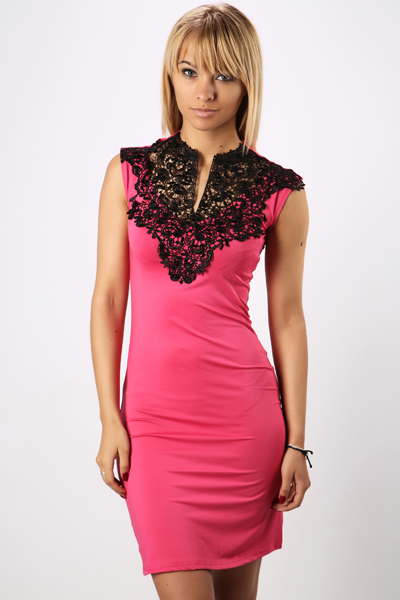 Lace Bib Front Dress