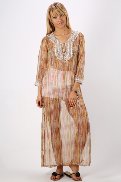 Ethnic Print Kaftan Maxi Dress