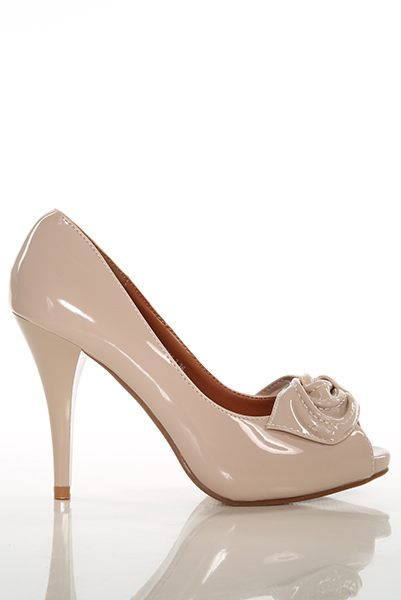 Patent PVC Bow Peep Toe Shoes