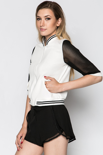 Perforated Sleeve Scuba Jacket