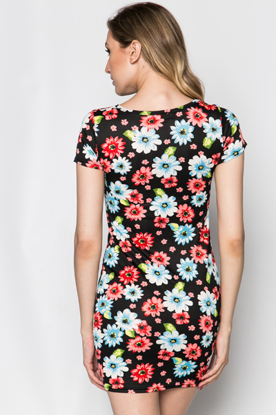 Multi Floral Bodycon Dress