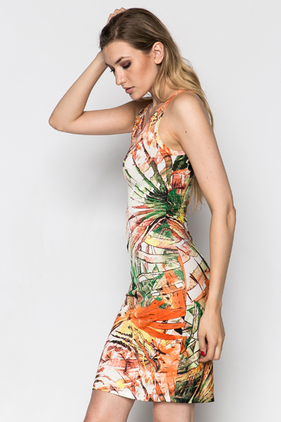 Graphic Flower Bodycon Dress