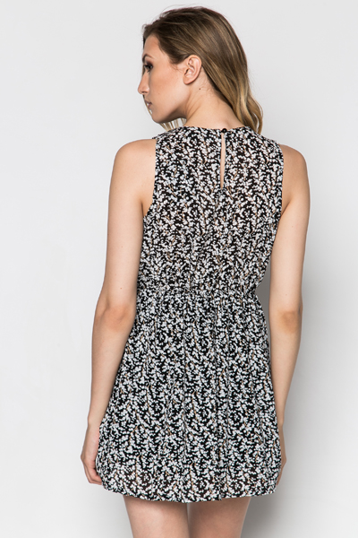 Embellished Neckline Leaves Print Dress