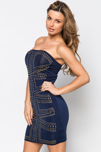 Stud Embellished Glam Dress