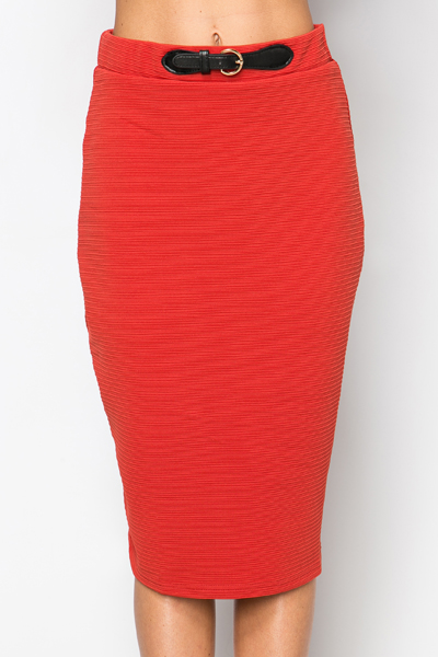 Belt Imitation Ribbed Skirt