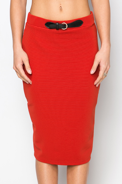 Belt Imitation Bodycon Skirt