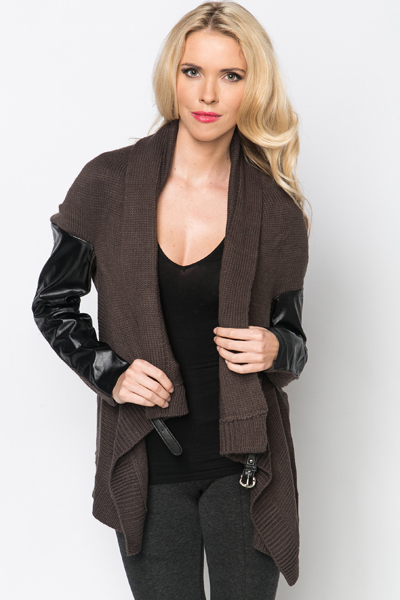 Faux Leather Sleeve Knit Cardigan