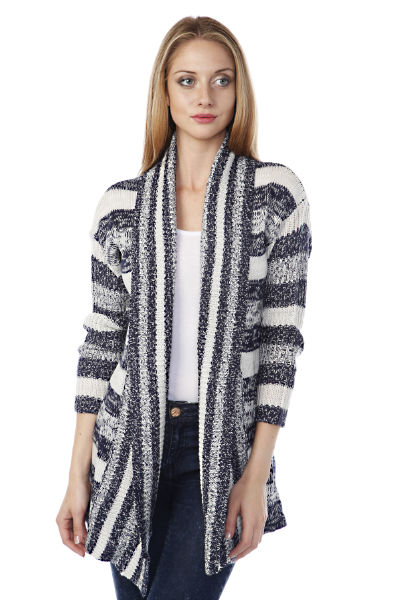 Multicolour Stripes Open Front Cardigan