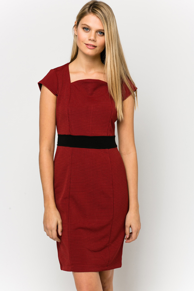 Textured Contrast Waist Dress
