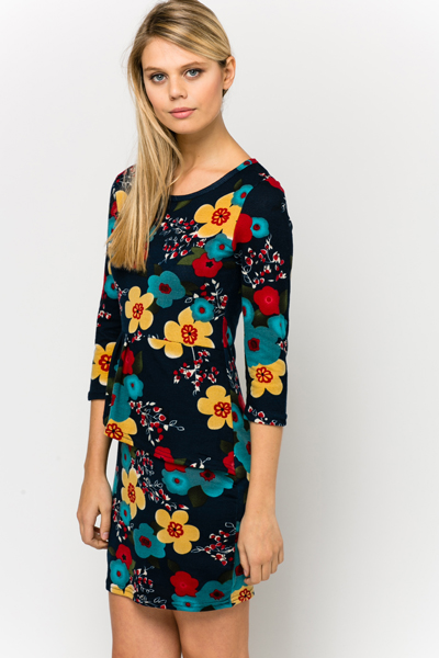 Fleece Floral Peplum Dress