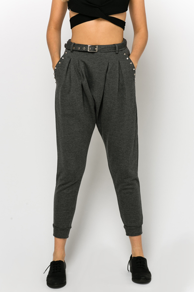 Studded Pocket Low Crotch Trousers