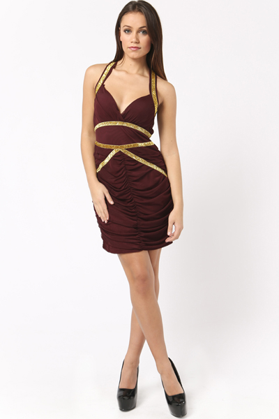 Glitter Band Mesh Halterneck Dress