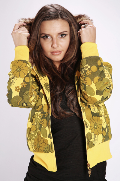 Faux Fur Hooded Flower Print Jacket