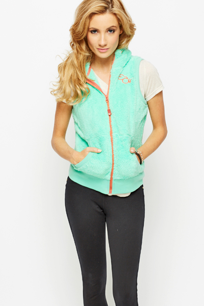 Fleeced Drawstring Hooded Gilet