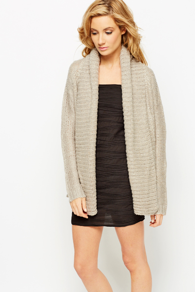 Metallic Shawl Collar Cardigan