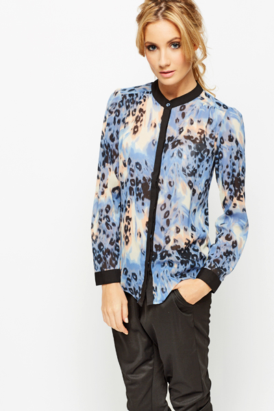 Blurred Animal Print Blouse