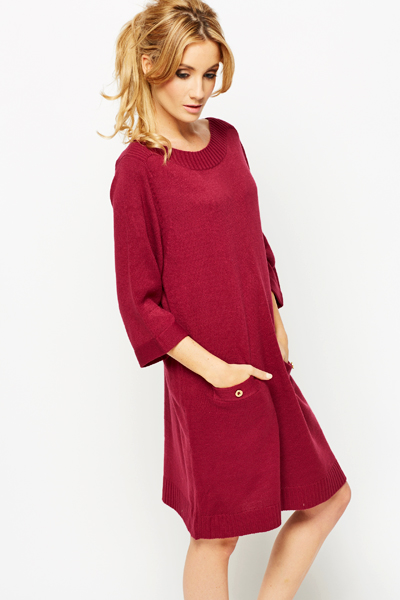 Oversize Rib Trim Jumper Dress
