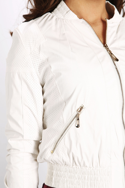 Perforated Zip Front Sporty Jacket