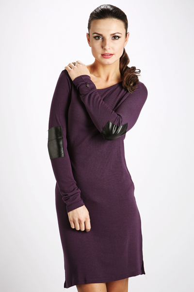 Faux Leather Elbow Patch Fine Knit Dress