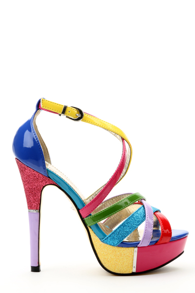 Contrast Shimmer Multicolour Heeled Shoes