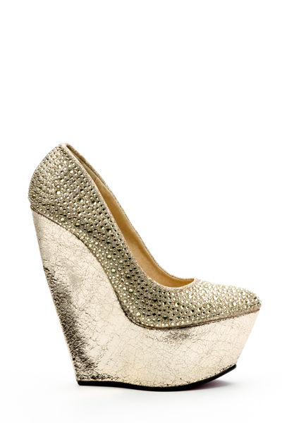 Encrusted Metallic Wedge Shoes