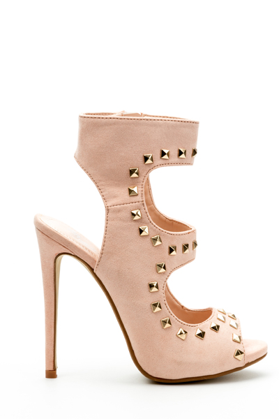 Cut Out Studded Sandal Heels