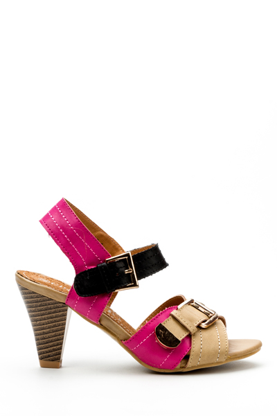 Two Tone Buckle Strap Sandal Heels