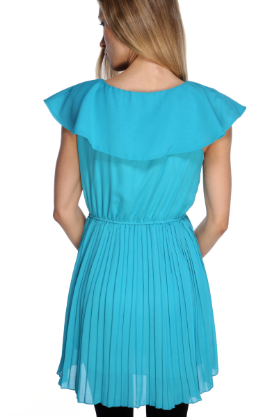 Bow Collar & Pleated Skirt Dress