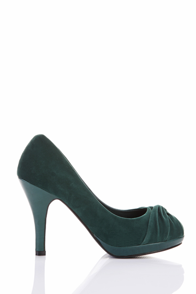 Twisted Bow Toe Velour Shoes