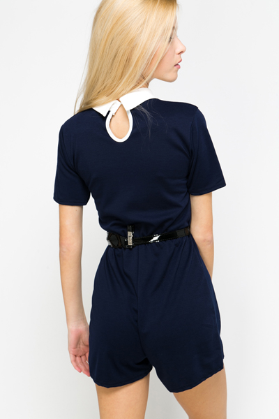Contrast Collar Playsuit